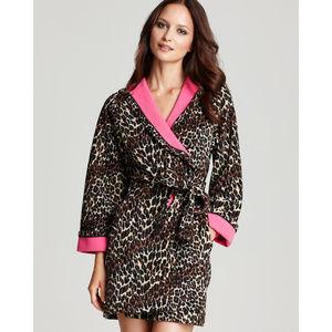 Betsey Johnson Animal Print Fleece Wrap Robe S